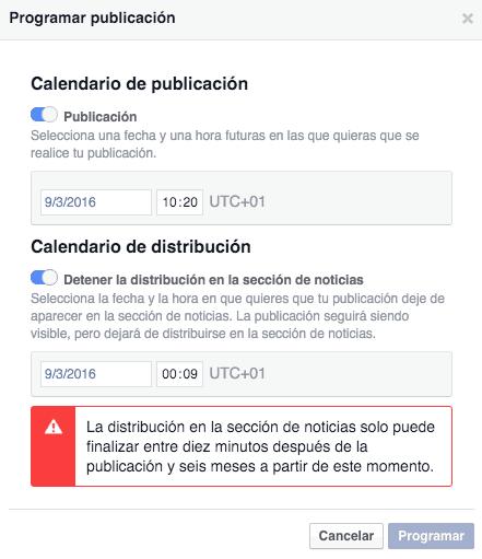 parar publicación Facebook